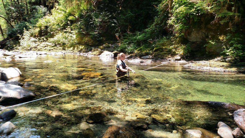 Kyra Freeman estimates streamflow with the USGS stream gauging method in the Upper North Fork Stillaguamish River