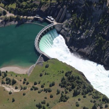 Aerial view of dam