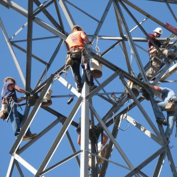 Transmission tower work