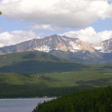 View across Hungry Horse Reservoir to the Flathead Range, Montana
