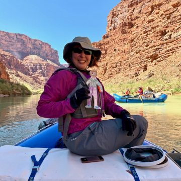 Nicole DeCrappeo rafts down the Colorado River through the Grand Canyon