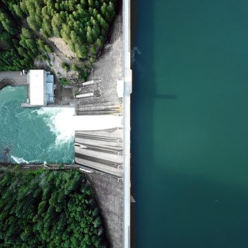 Aerial view of Detroit Dam, Detroit Oregon