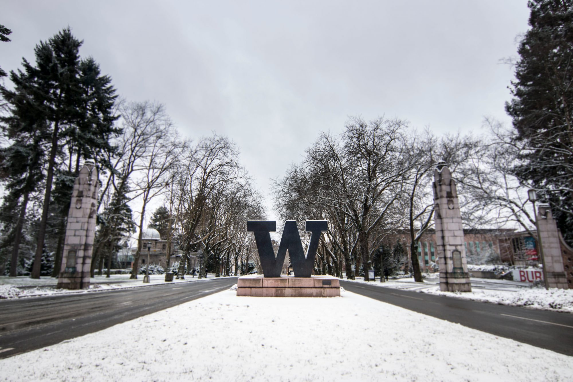 "Bronze ""W"" at the entrance of a snowy campus"